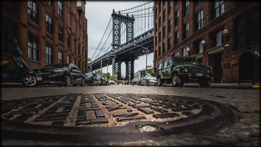 View to the Manhattan Bridge - Streets of New York City.