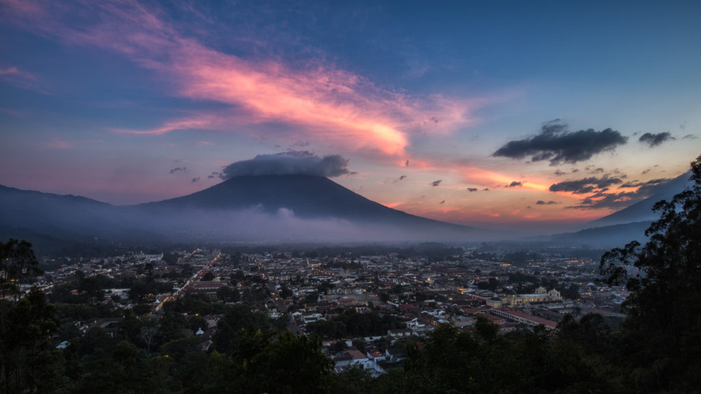 Sunset over Antigua, Guatemala.