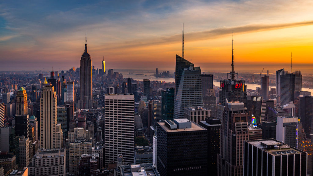 Sunset over downtown Manhattan at the Rockefeller Center