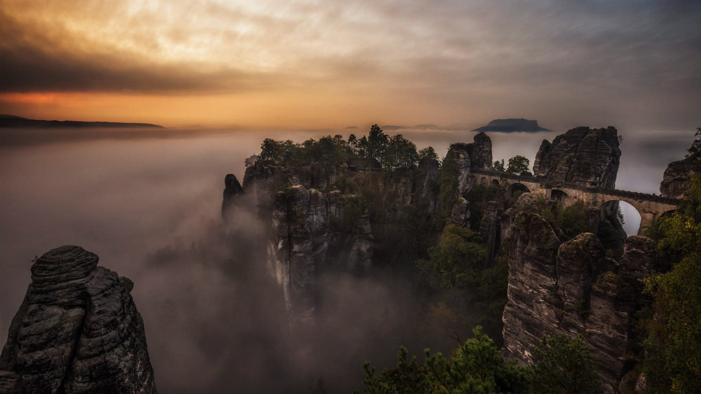 Landscape and Travel Photography: Sunrise at Bastei in Saxon Switzerland