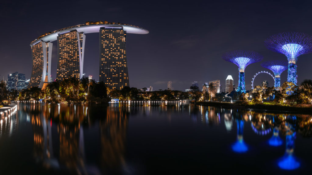 Long Exposure: Gardens by the Bay & Marina Bay Sands.