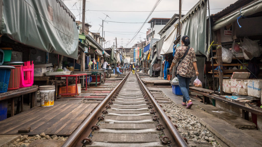 Maeklong Railway Market close to Bangkok