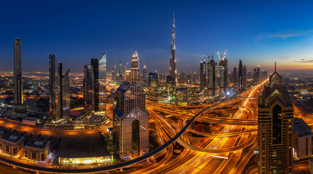 Skyline Shot in Dubai with the Burj Khalifa during the Blue Hour