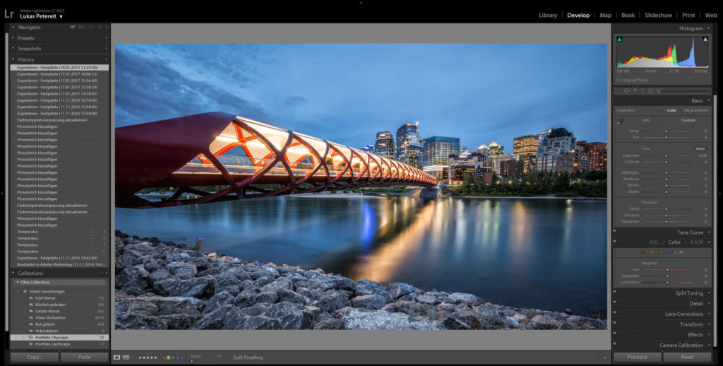 Interface: Adobe Lightroom offes several functions for fast and professional editing