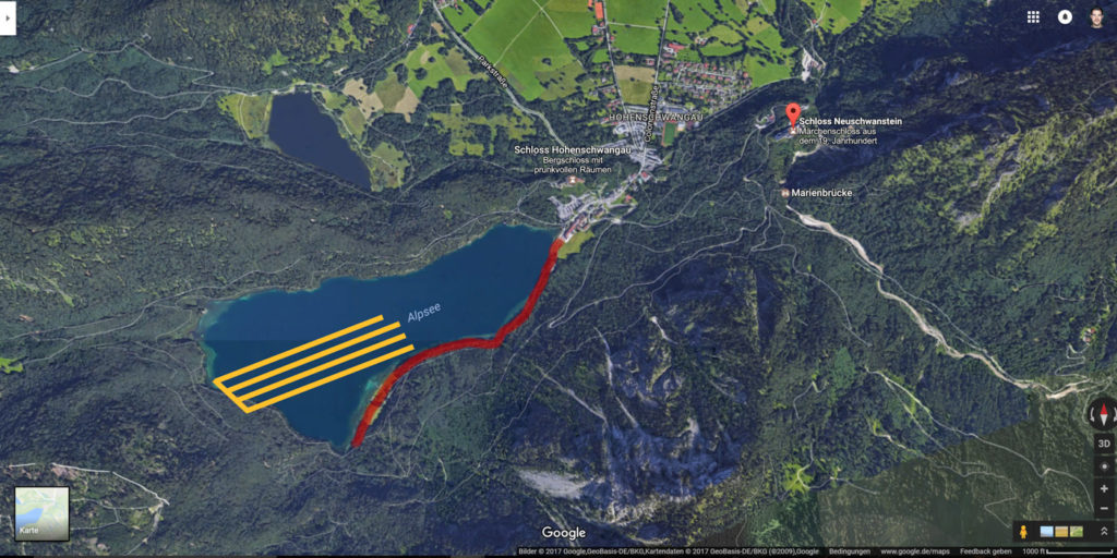 Google Maps Screenshot marked with a Photo Spot at the Alpsee