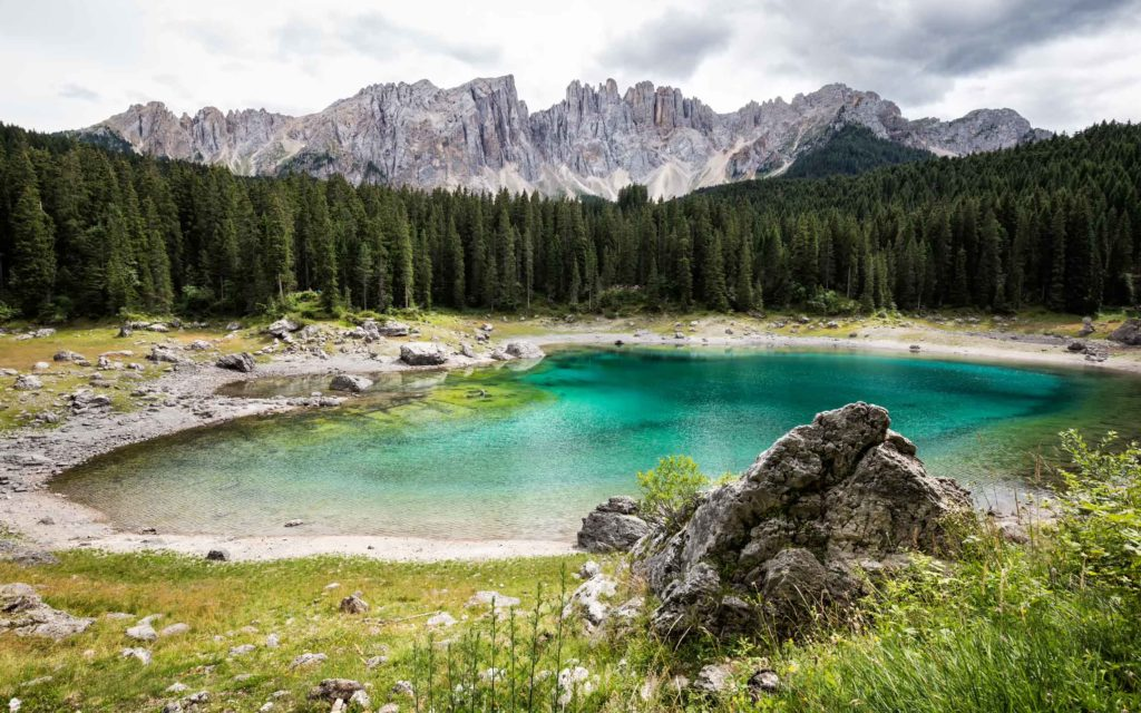 Lake Lago di Carezza in the Dolomites