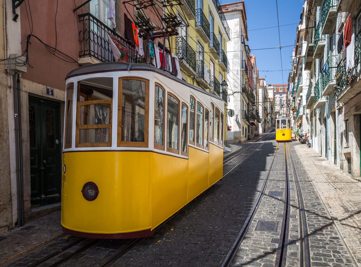 In the Centre of Lisbon: Small Streets and Yellow Trams.