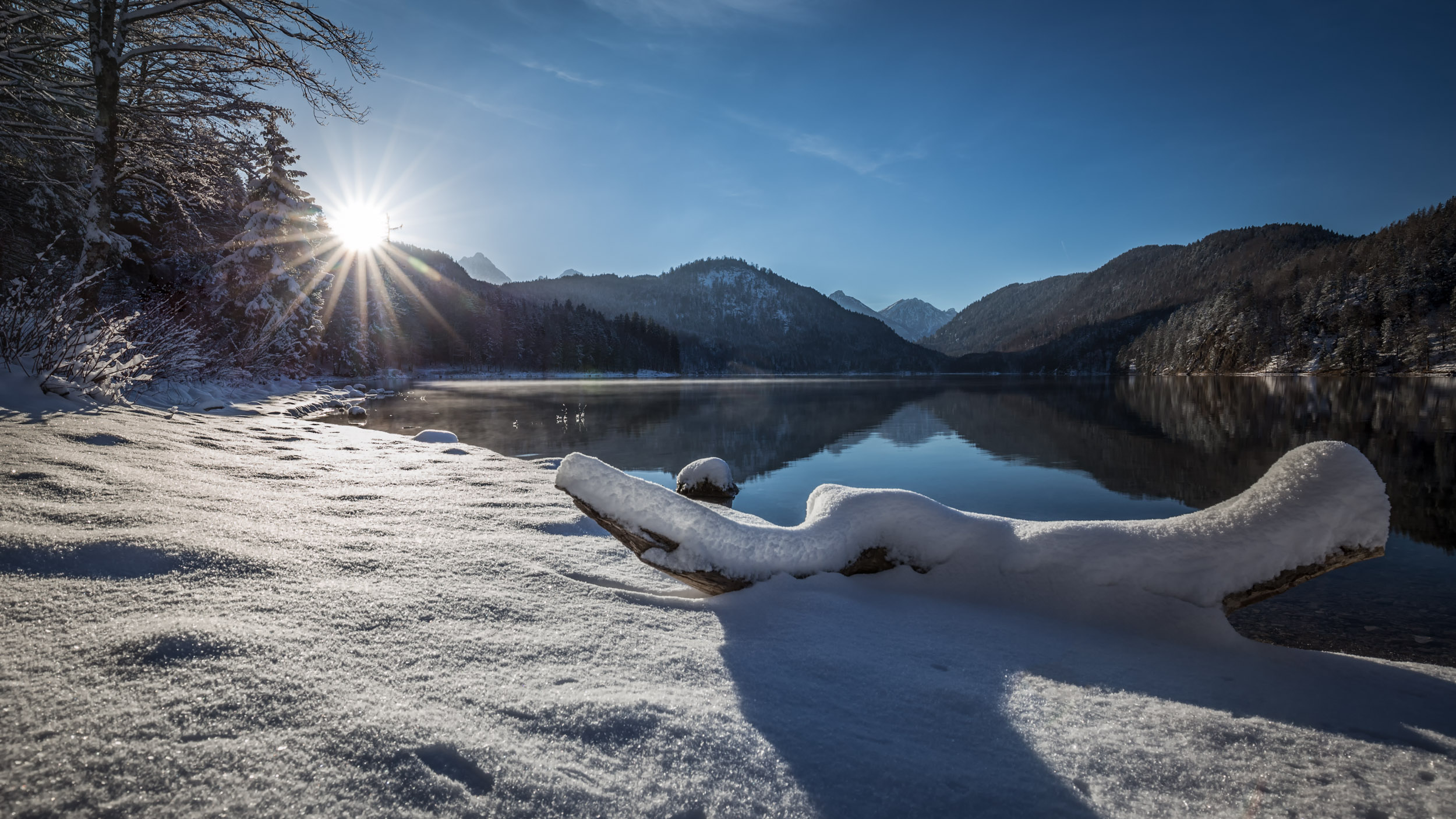 Sunlight at the Alpsee, Germany.