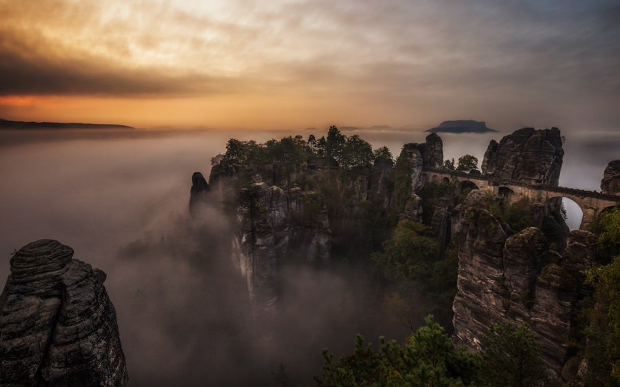 Landscape of Bastei during Sunrise from Lukas Petereit, German Travel Photographer