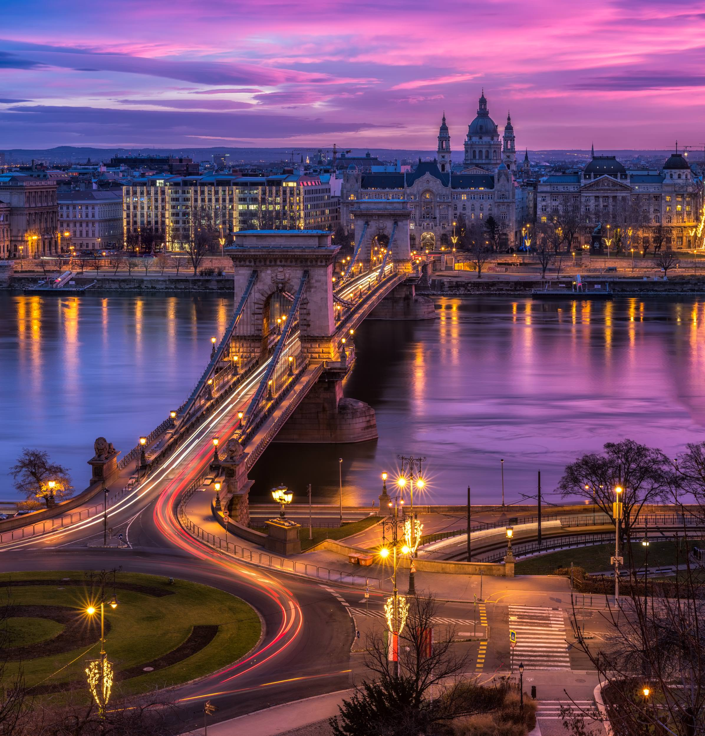 Chain Bridge during Sunrise in Budapest, Hungary