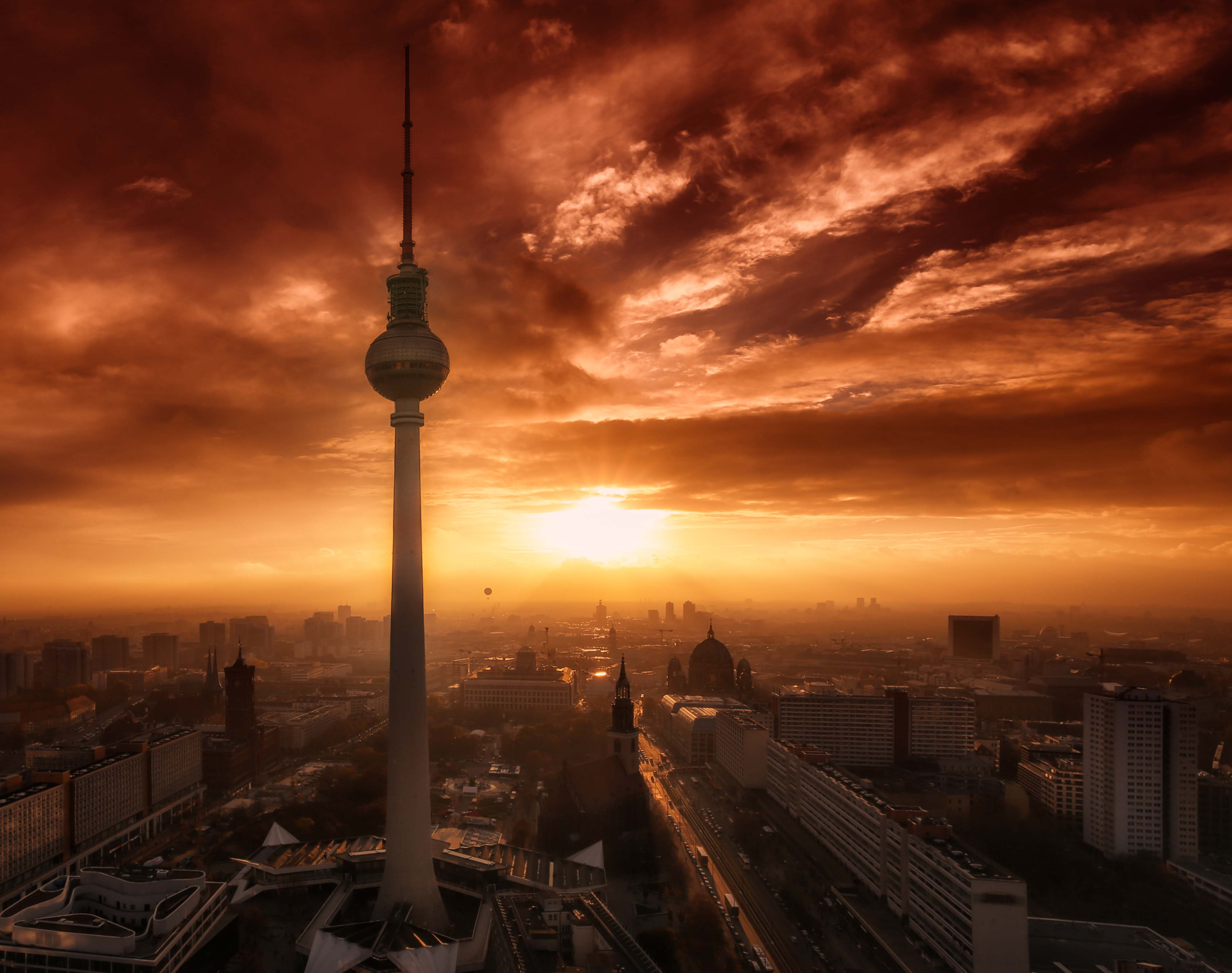 Sunset at the TV Tower, Berlin.