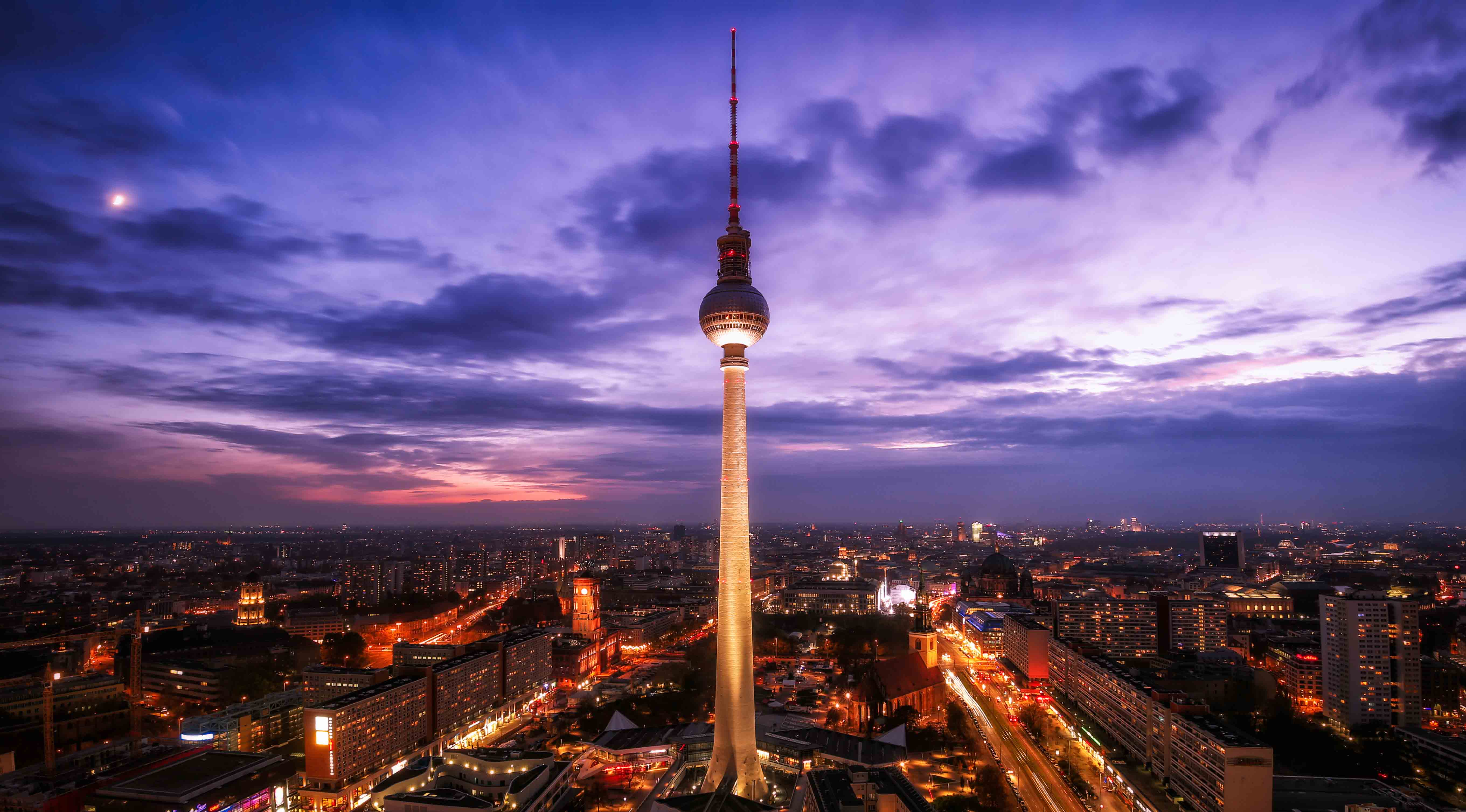 View over Berlin and the TV Tower during Sunset.
