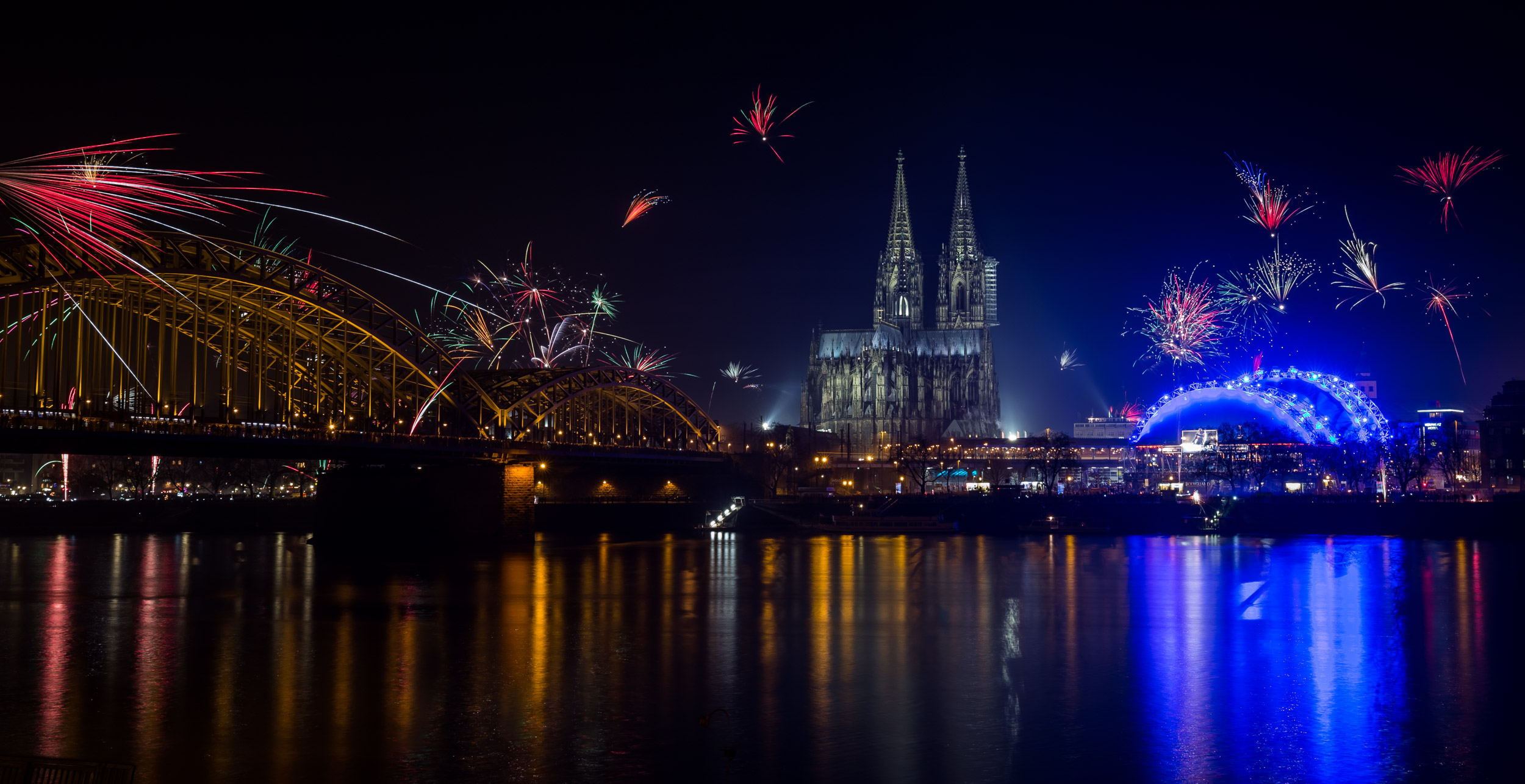 Fireworks at Cologne, Germany.