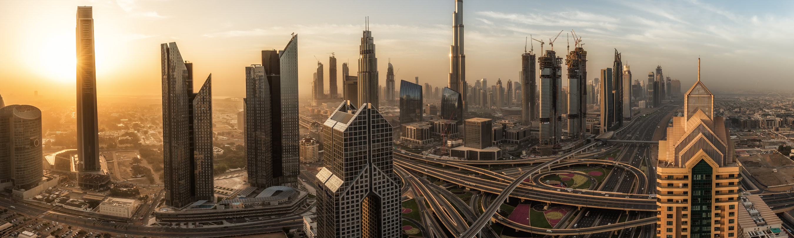 Cityscape of Dubai during Sunrise