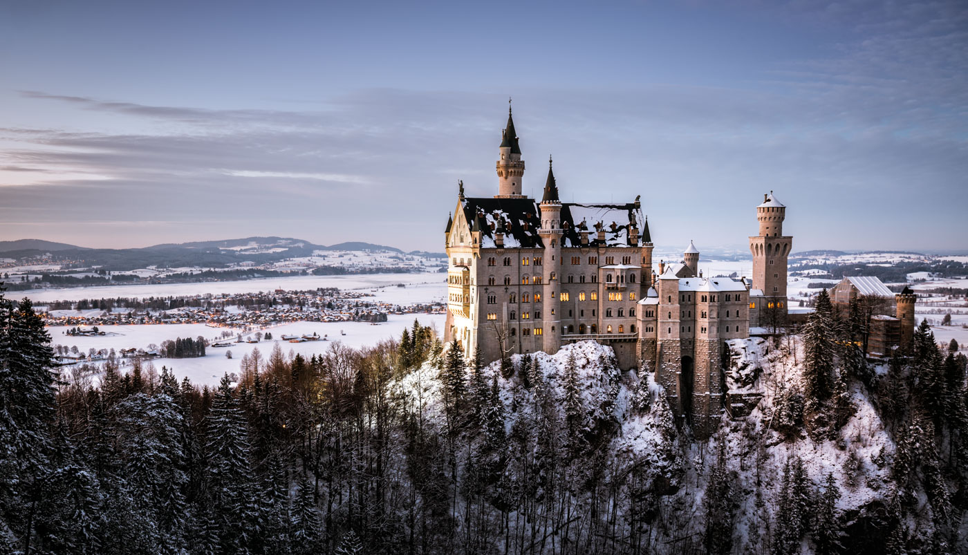 Neuschwanstein Castle during Sunset.