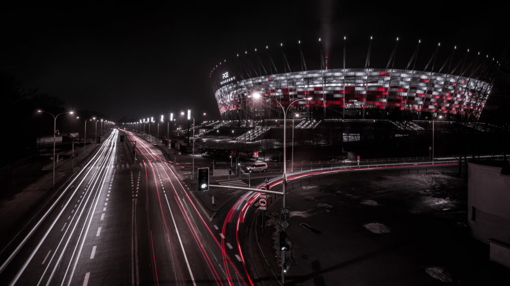 PGE Narodowy in Warsaw during Night