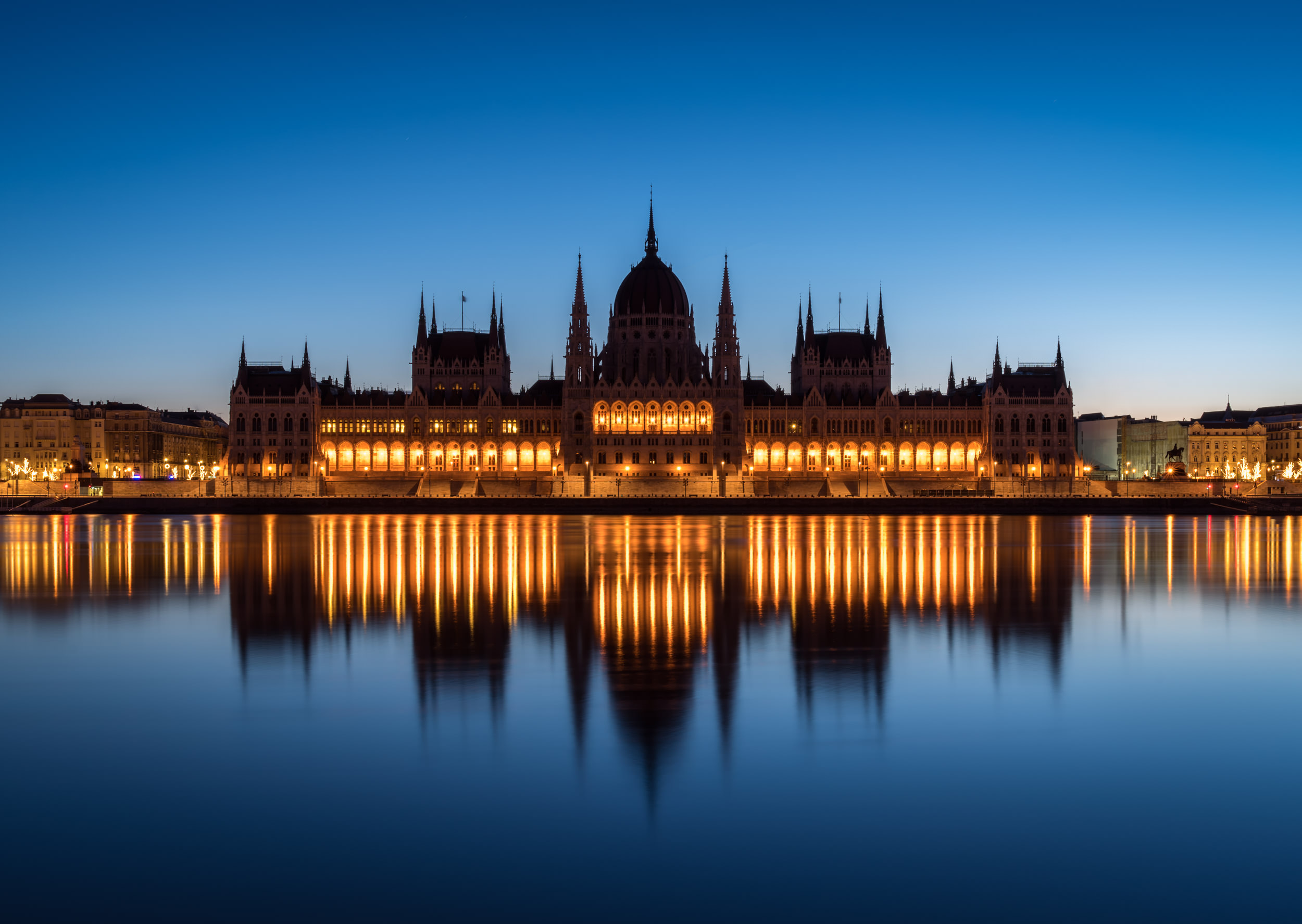 Parliament Building during Blue Hour in Budapest, Hungary