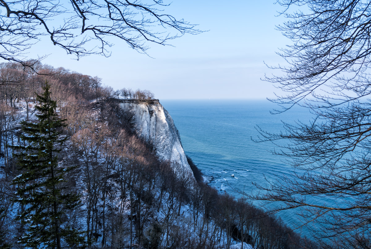 The famous Chalk Cliffs in Jasmund National Park during Winter