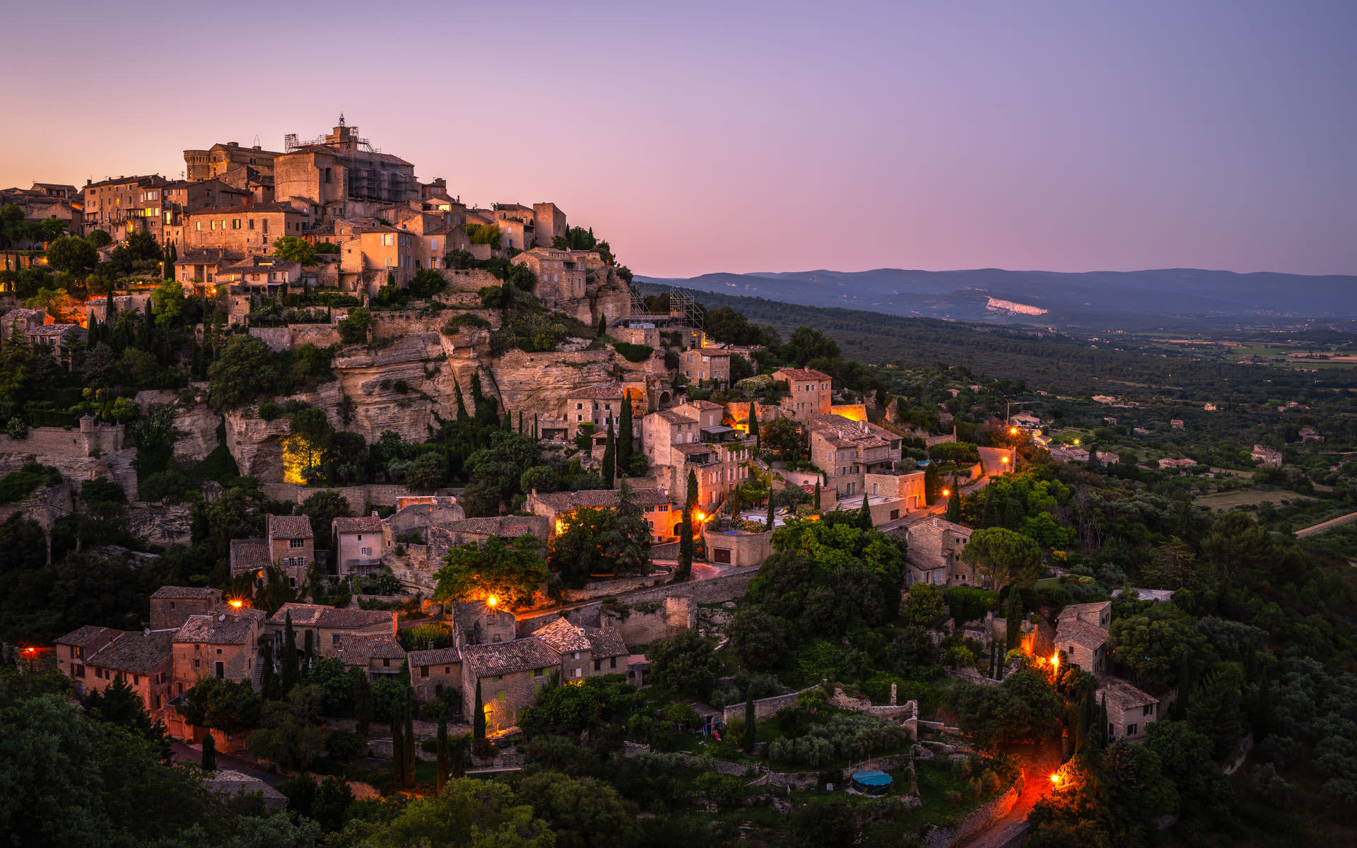 Panorama over the City of Gordes by Night - Photography in France