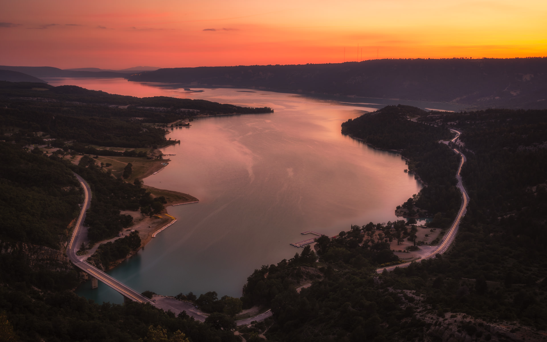 Orange Sunrise at Lac de Sainte-Croix from Verdon Canyon