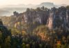 Sunrise in Saxon Switzerland National Park - Landscape Photography in Autumn - Bastei Panorama