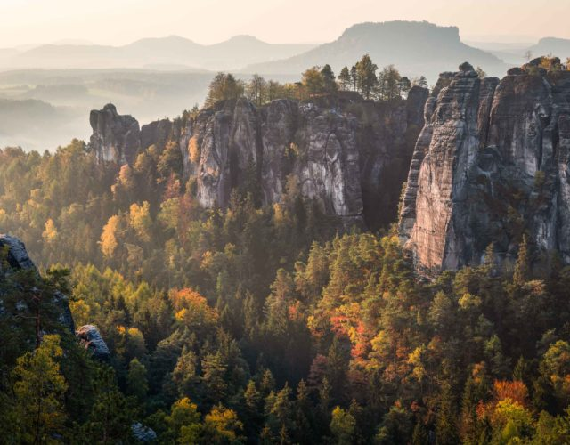 Sunrise in Saxon Switzerland National Park - Landscape Photography in Autumn - Bastei Panorama
