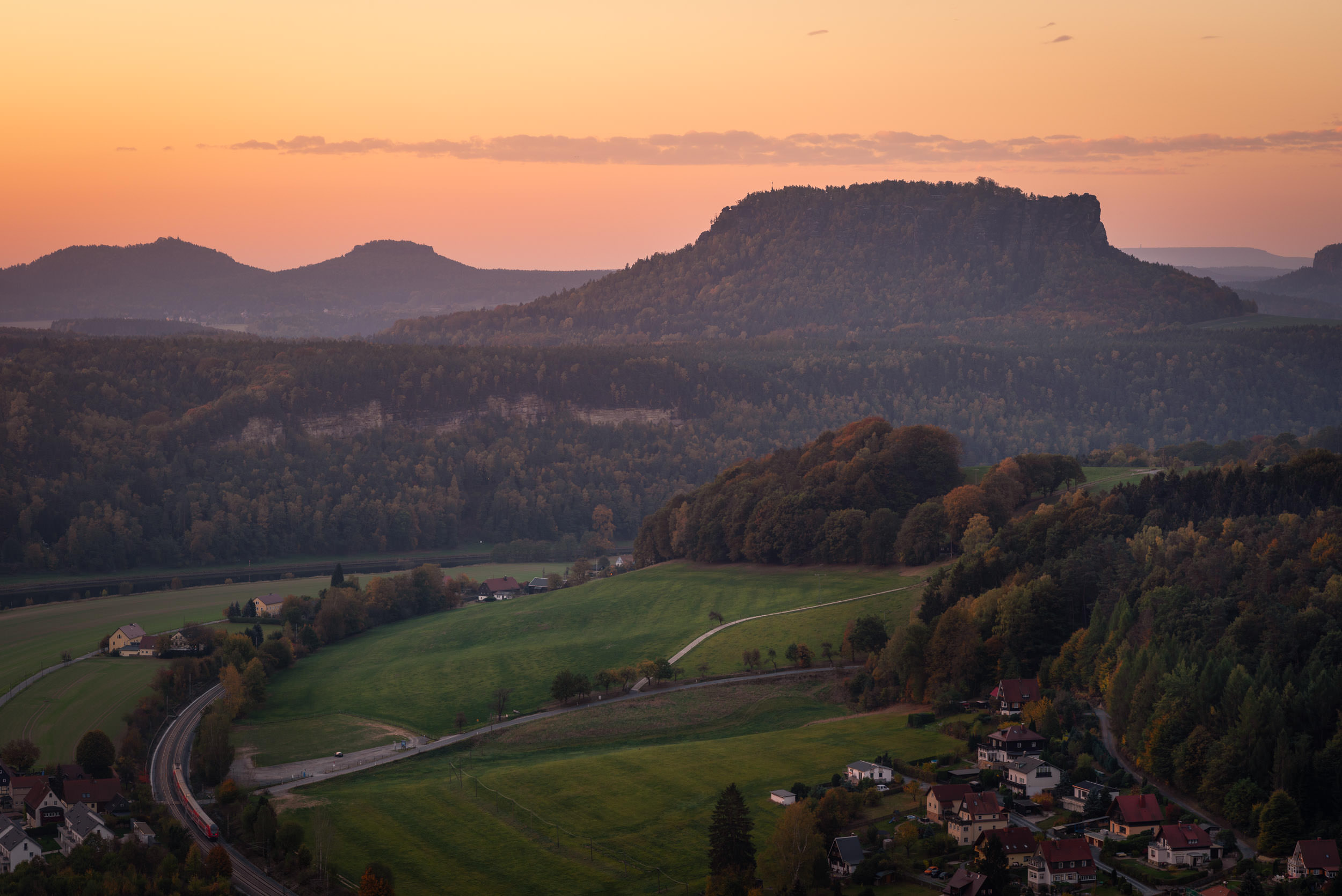 Sunrise over Rathen - Landscape Photography in Saxon Switzerland during Autumn