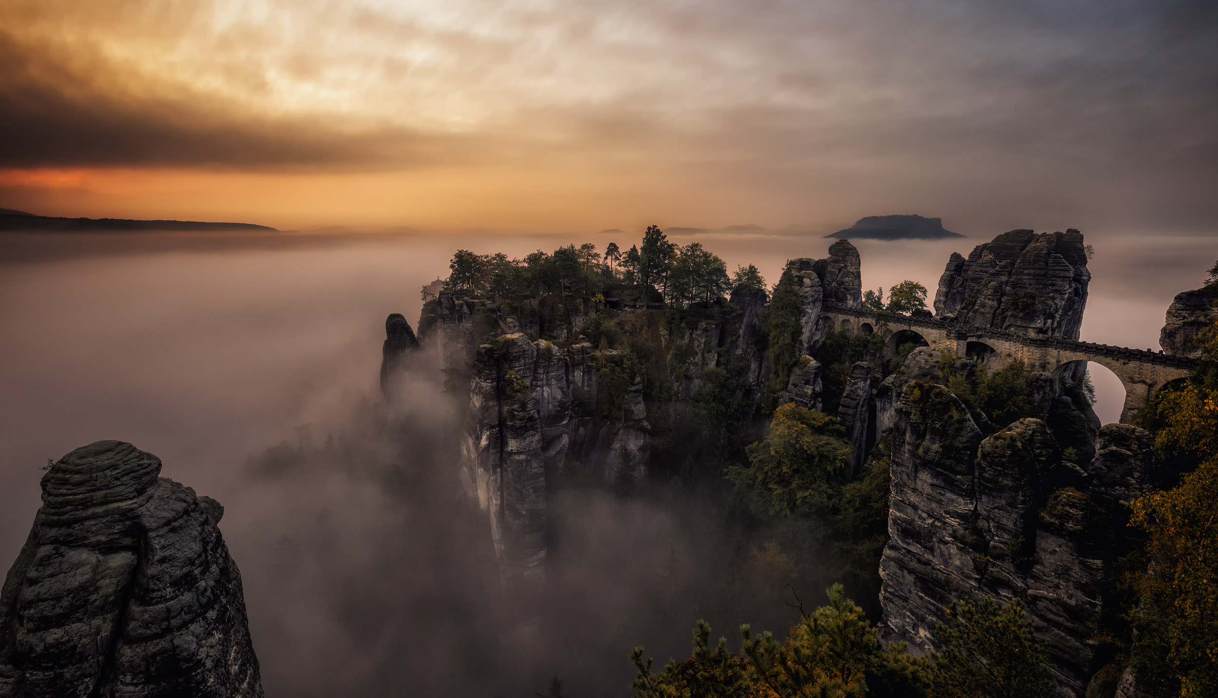 Sunrise at Bastei in Saxon Switzerland