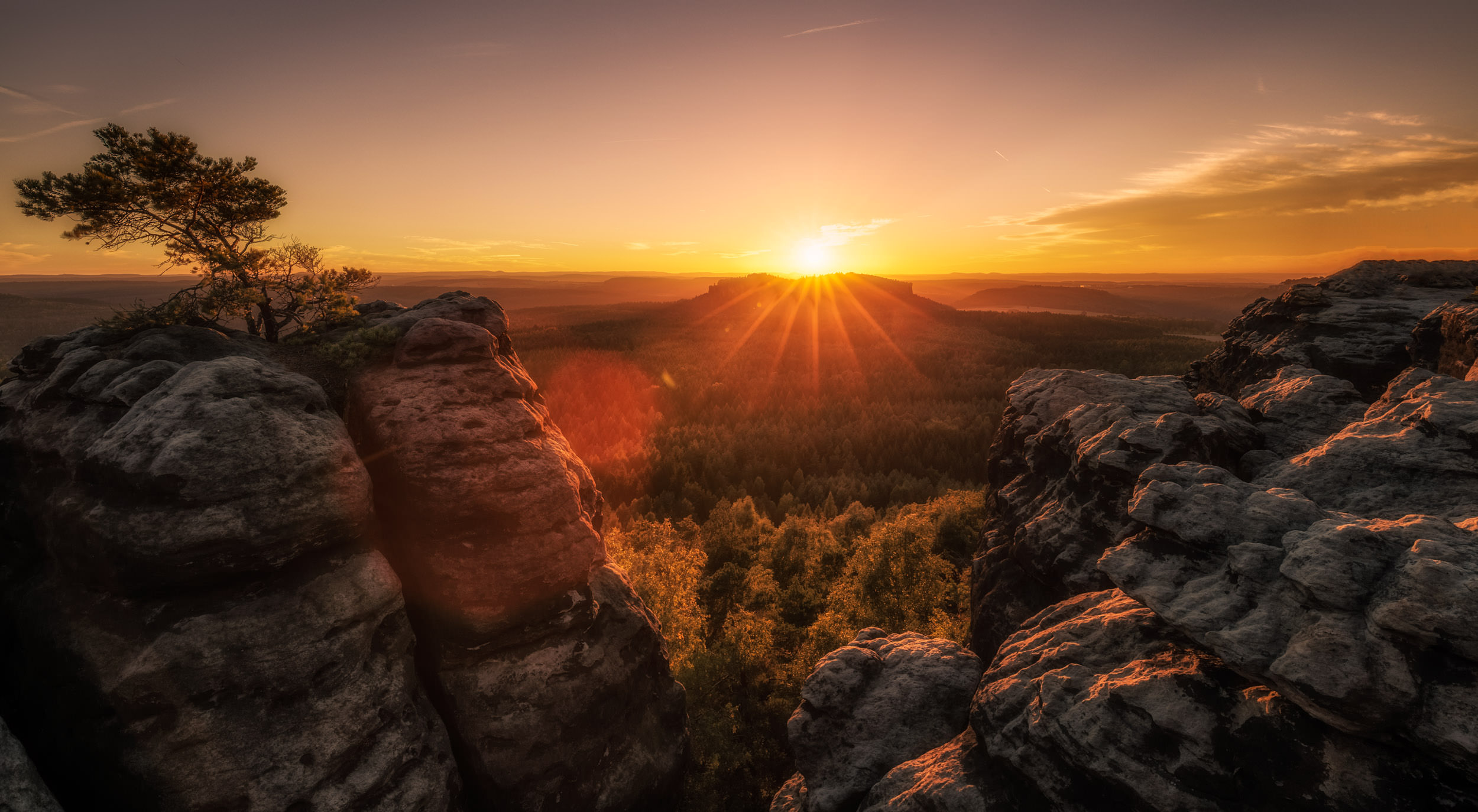 Sunset over the mountains of Saxon Switzerland