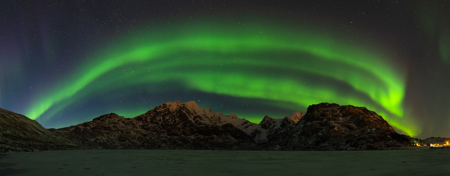Northern Lights Panorama at Lofoten Islands in Norway