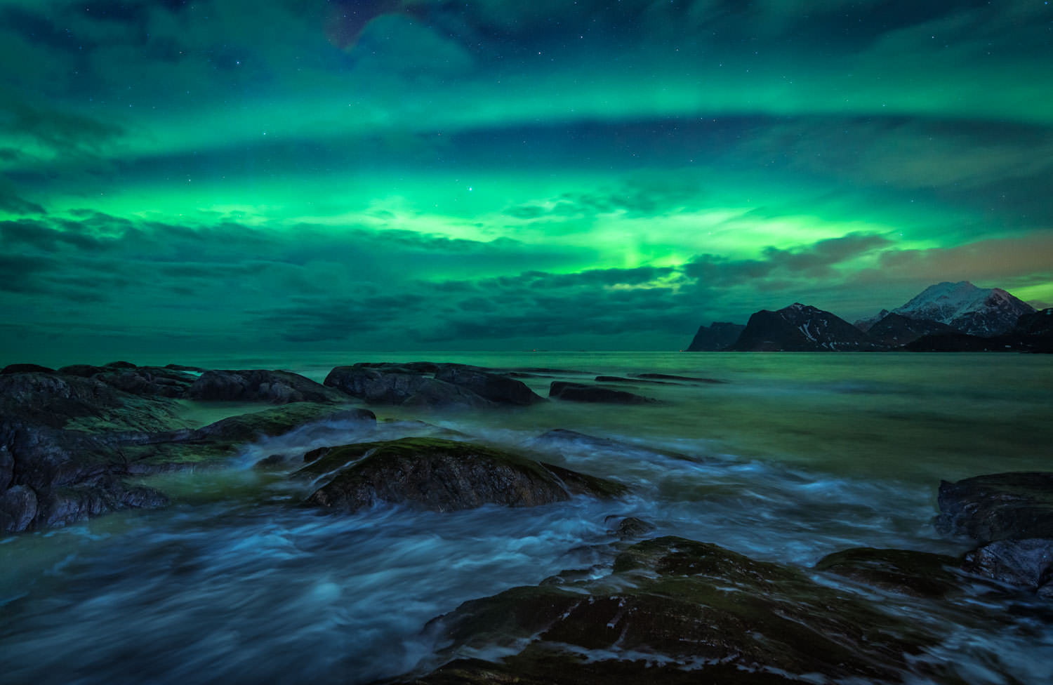 Aurora Borealis (Northern Lights) over the rough sea of Lofoten Islands in Norway - Landscape Photography