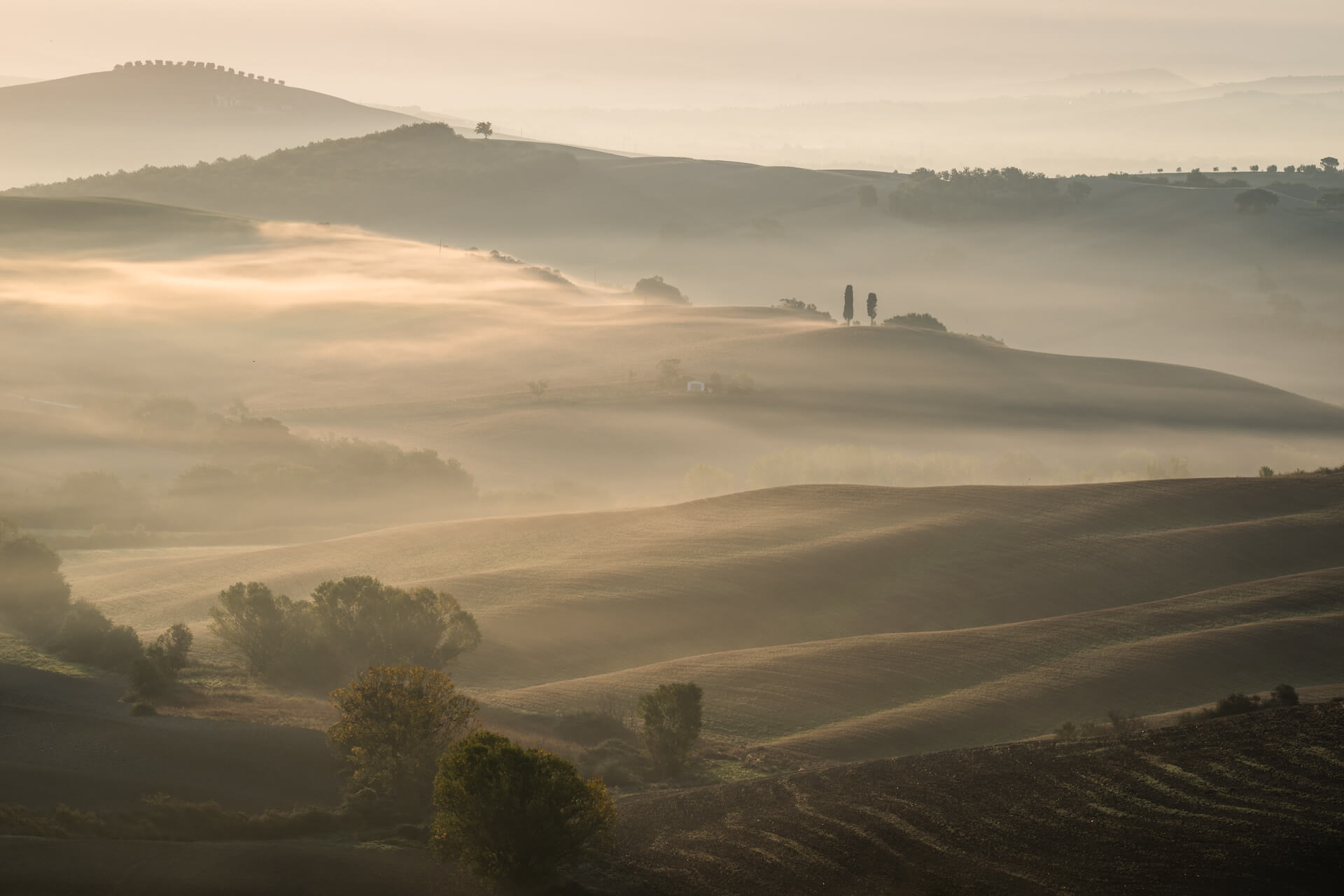 Morning Fog Val d'Orcia in Tuscany, Italy