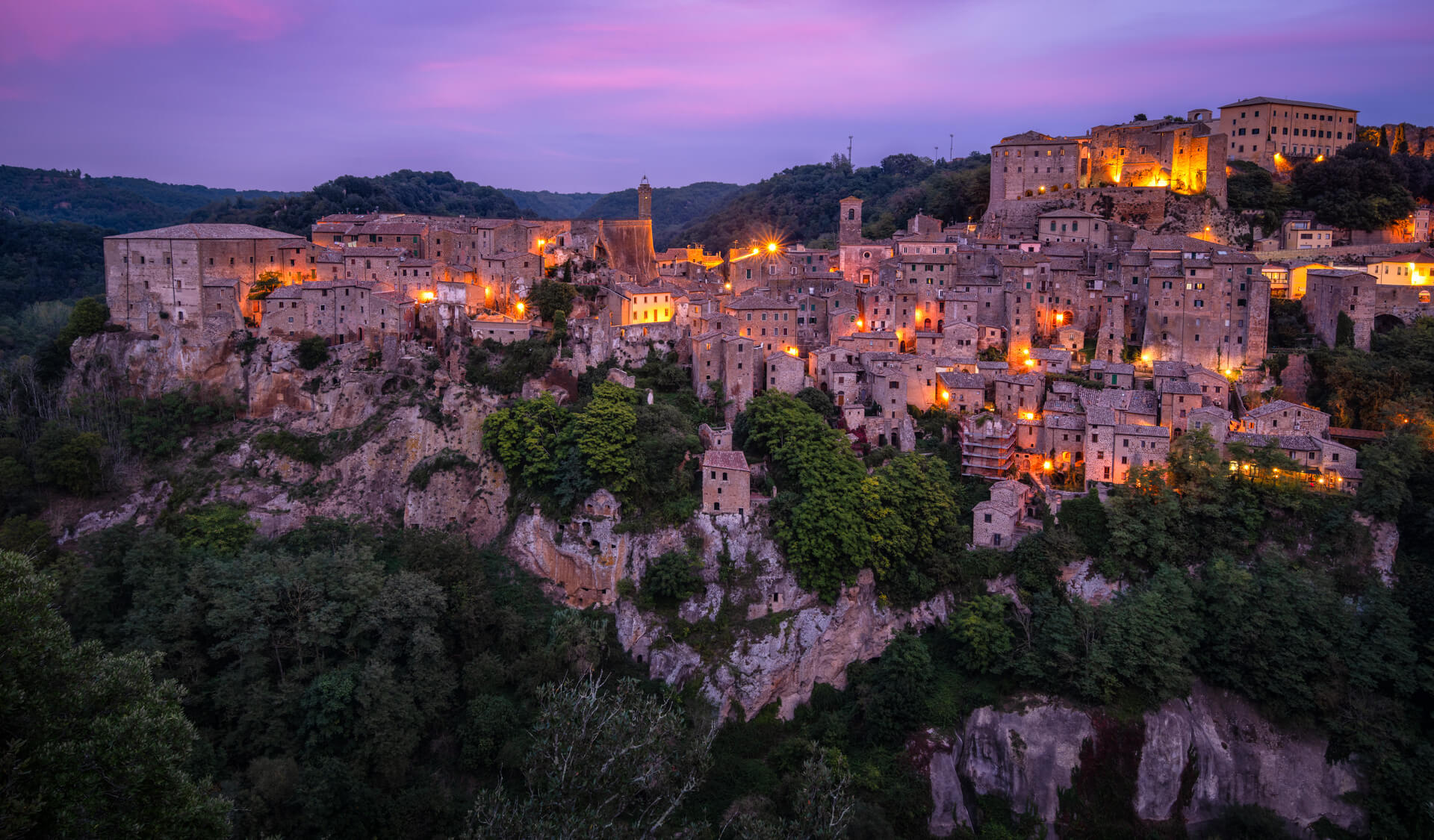 Pink sunset over the Italian village Sorano