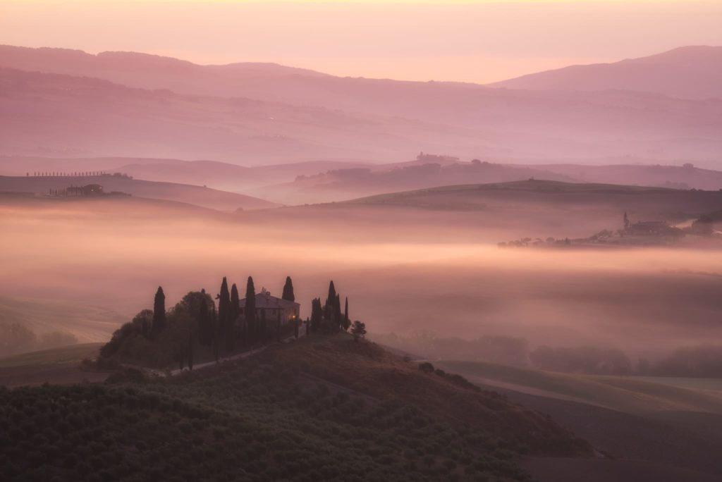 Podere Belvedere during Sunrise - Landscape in Tuscany